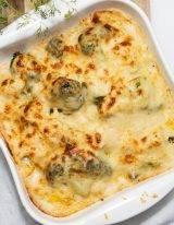 Ovenschotel met bloemkool en broccoli gegratineerd met gruyere kaas