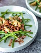 haricots vert met spek en champignon