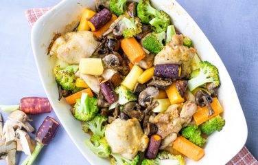 herfst ovenschotel met regenboogwortel