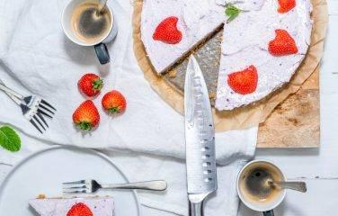 koolhydraatarme kwarktaart met aardbeien