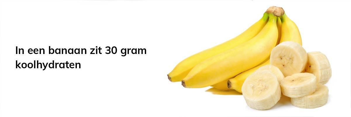 Een banaan heeft 30 gram koolhydraten