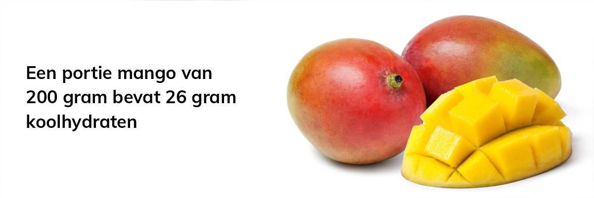 Een portie mango bevat 26 gram koolhydraten