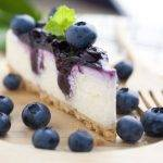 vegan cheese cake met blauwe bessen