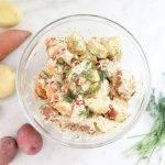 Frisse vegan Duitse aardappelsalade