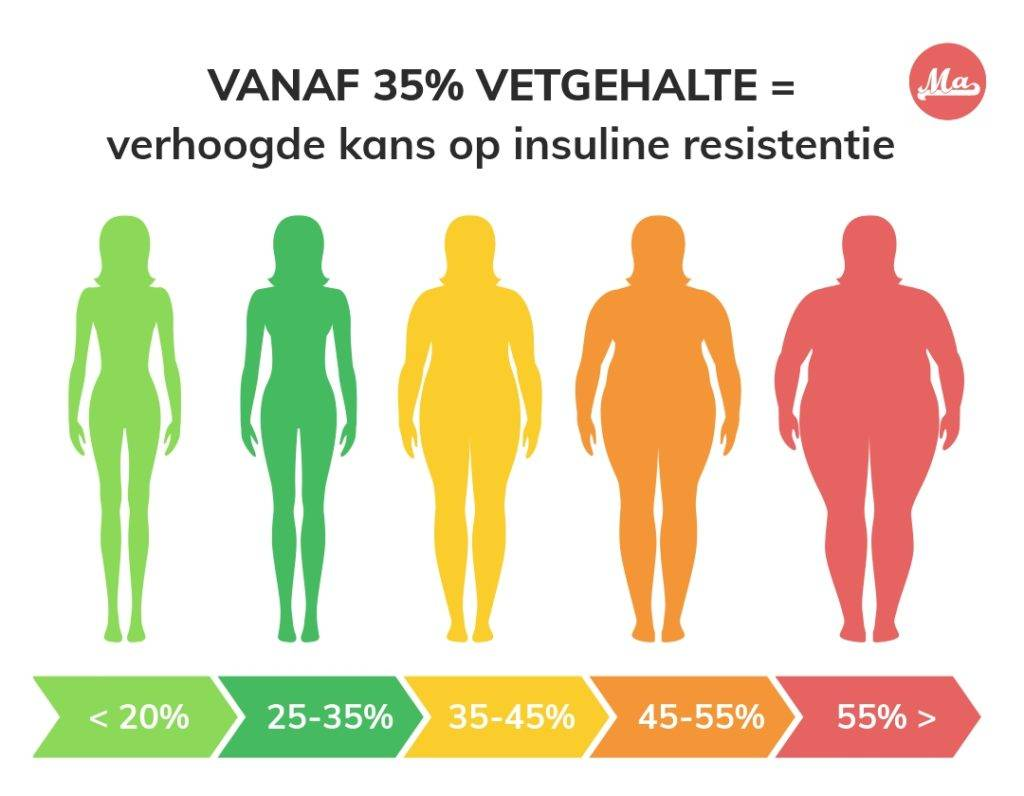 Hoog vetpercentage is een verhoogde kans op insuline resistentie